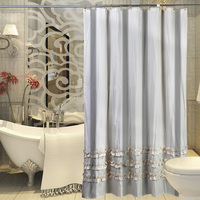 White Lace Polyester Shower Curtain Shower Room Waterproof Striped Bath Curtain