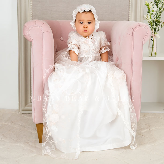 0-2 Years Stunning Custom Made Lovely White Ivory Lace Baby Clothing Dress Hat Long Lace Infant Girls Christening Gown 0-12 Y