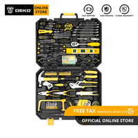 DEKO Hand Tool Set General Household Repair Hand Tool Kit with Plastic Tool box Storage Case Hammer Screwdriver Ratchet Wrench