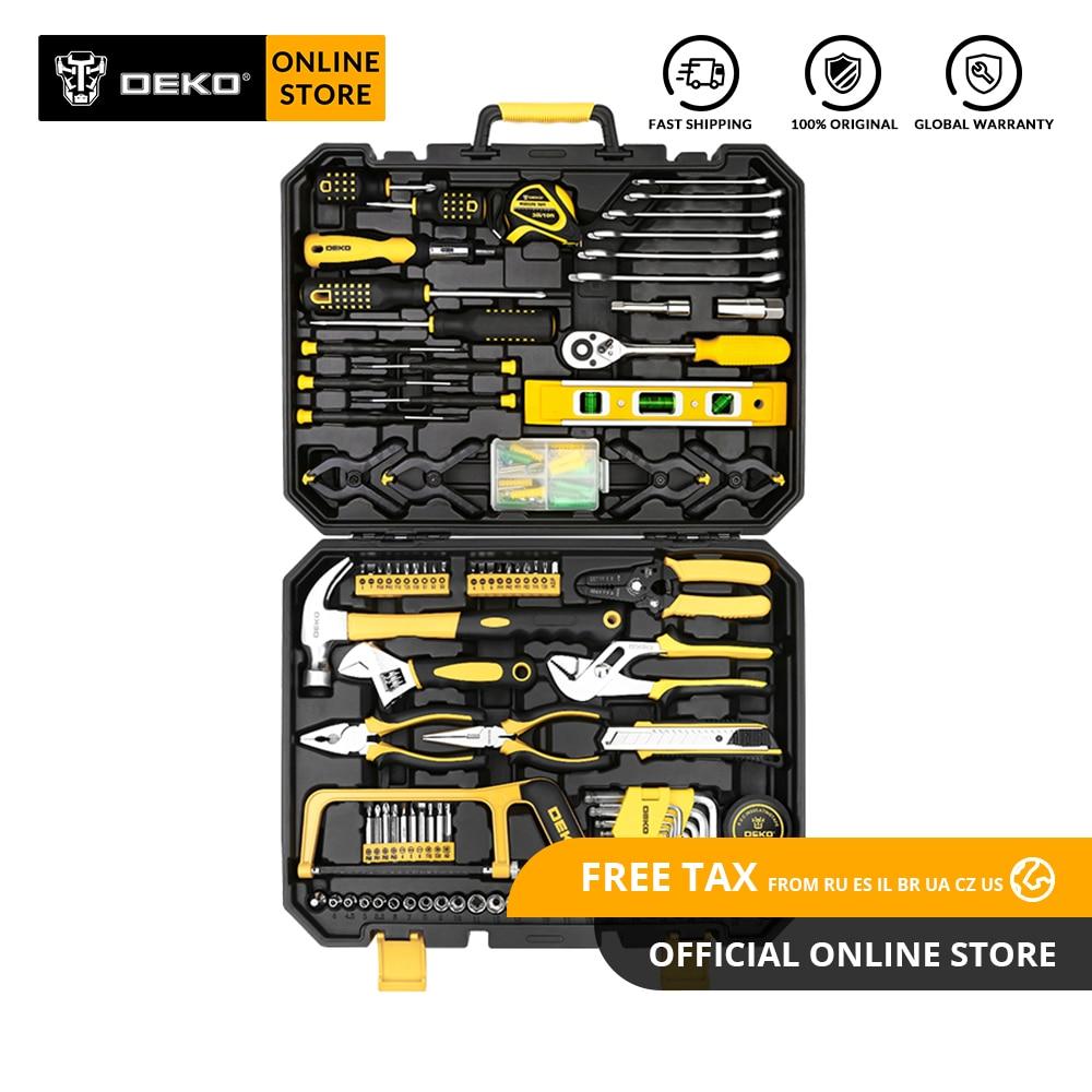 DEKO набор ручных инструментов для домашнего ремонта, набор ручных инструментов с пластиковым ящиком для инструментов, чехол для хранения, молоток, отвертка, трещотка, гаечный ключ