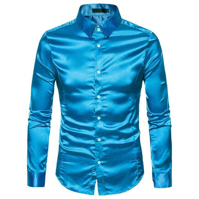 0b45f2f788befe New Gold Silk Satin Shirt Men Chemise Homme 2018 Fashion Mens Slim Fit Long  Sleeve Emulation