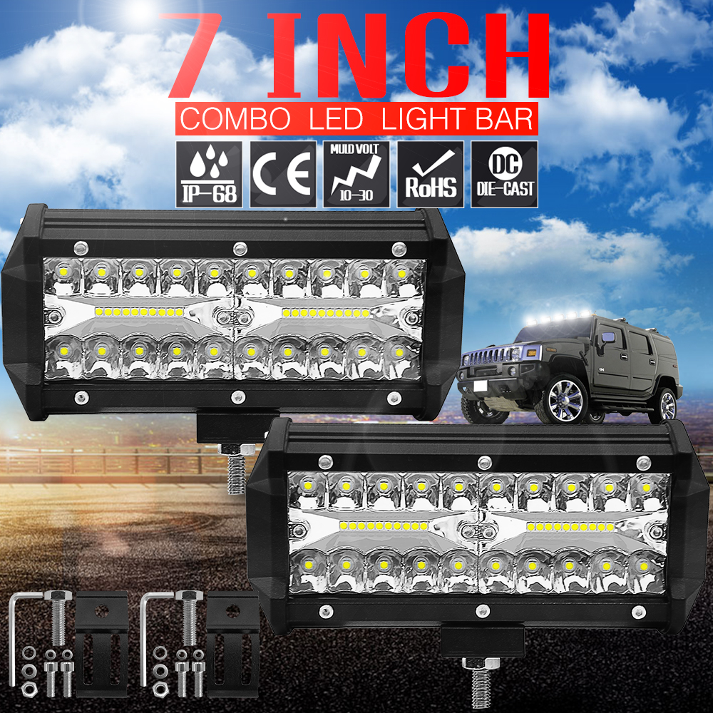 7-Inch 120W LED Strip Light Working Refit Off-road Vehicle Light Roof Strip Light image