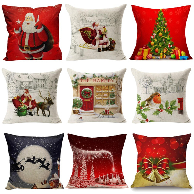 halloween christmas cushion cover throw pillows case cotton linen tree new year decorative pillows for sofa