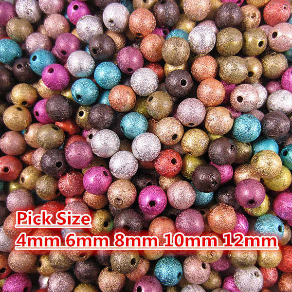 Pick Size 4 6 8 10 12mm Mixed Stardust Acrylic Round Ball Spacer Loose Beads Charms Findings For Jewelry Making ST05