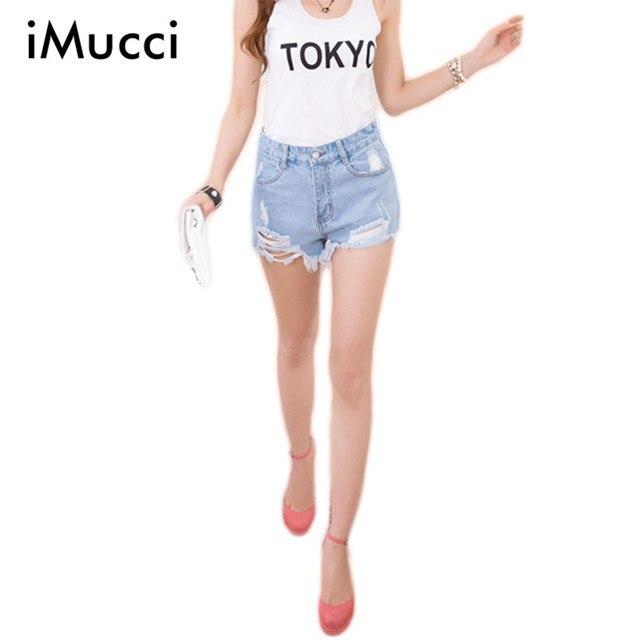 6d71bbca1b4f Fashion High Waisted Denim Shorts Women Summer Style Hole Ripped Short Jeans  Feminino Plus Size Blue