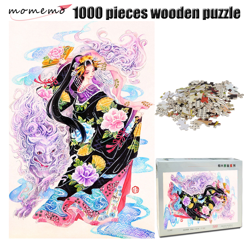MOMEMO Lion and Girl Adult 1000 Pieces Wooden Jigsaw Puzzle Chinese Style Color Painting Toys