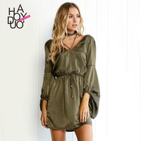 Haoduoyi2017 Autumn New Dress European And American Fashion Sexy V Neck Accept Waist With Pure Color