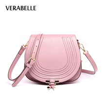 VERABELLE 2017 new cow hide genuine full-grain leather women purses crossbody shoulder high quality saddle messenger female bag