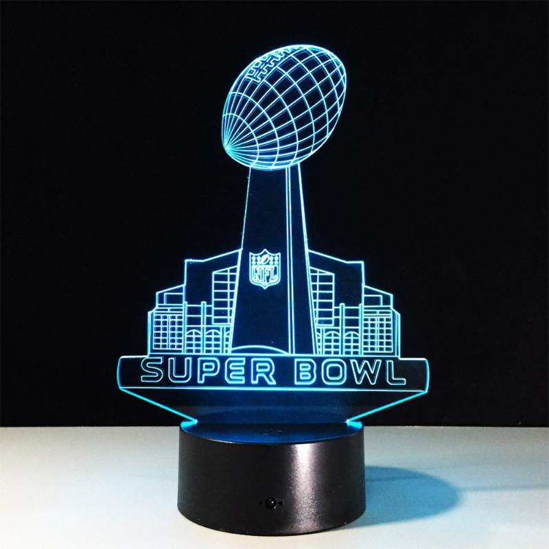 3D LED NFL Acrylic Lamp Panel Super Bowl Rugby Lights Colour Change Night Light Decor Touch Switch/Remote Control nfl 3d light touch led lamp 7 colors dallas cowboys 3d sleeping led light lampara acrylic usb 3d nightlight 3d kids night light