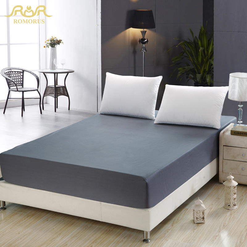 ROMORUS 2018 Modern Healthy Mattress Cover 100% Quality Cotton Grey/Navy Blue Solid Fitted Sheet Twin/Full/Queen Size Bed Sheet