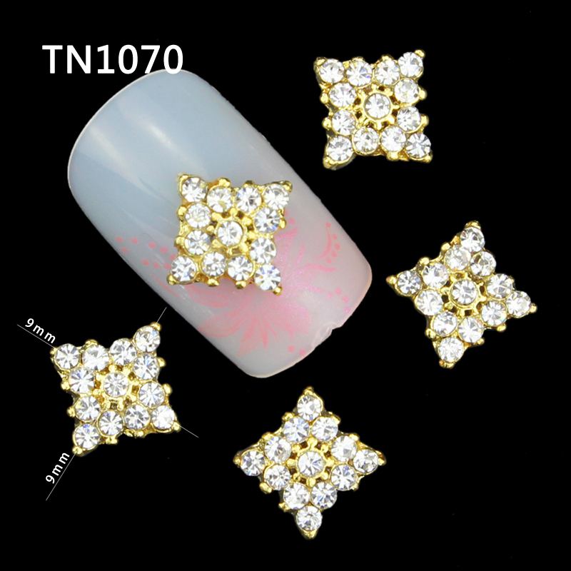 10 Pcs Glitter Gold Square 3D Full Rhinestones For Nail Art Decorations On Gel Polish DIY Alloy Charm Nails Tools TN1070