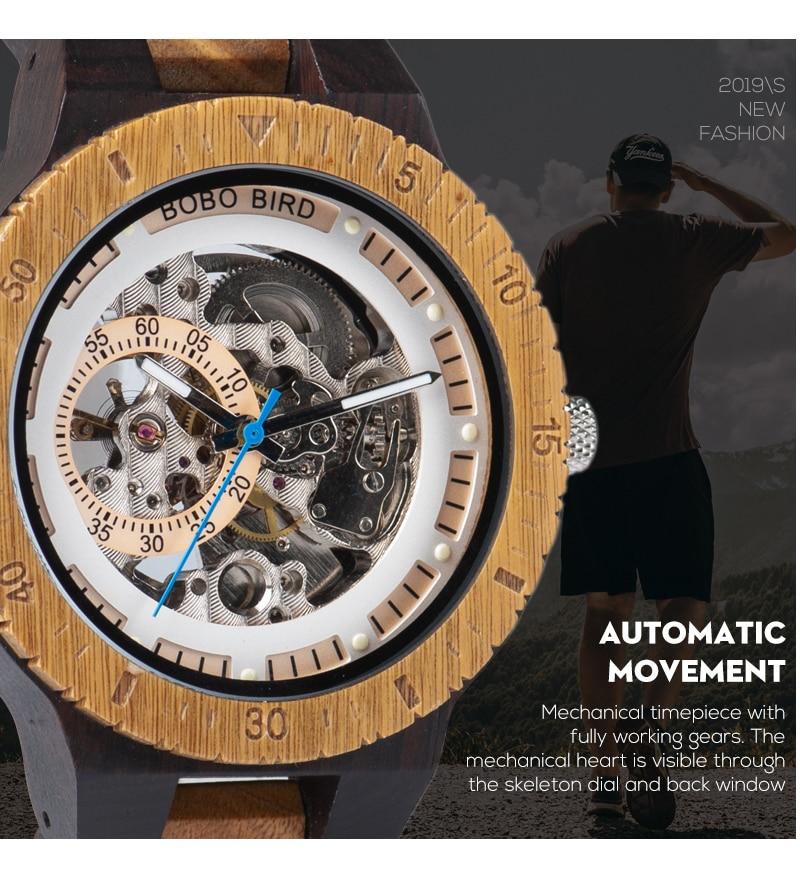 HTB1V2toa8v0gK0jSZKbq6zK2FXaR Relogio Masculino BOBO BIRD Mechanical Watch Men Wood Wristwatch Automatic Customized Gift for Dad