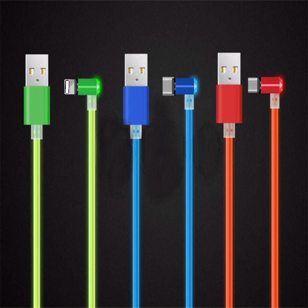 Универсальный данных зарядного шнура Магнитная 90 градусов Micro USB Type-C для Lightning USB кабель мобильного телефона iPhone X samsung3IN1 кабель