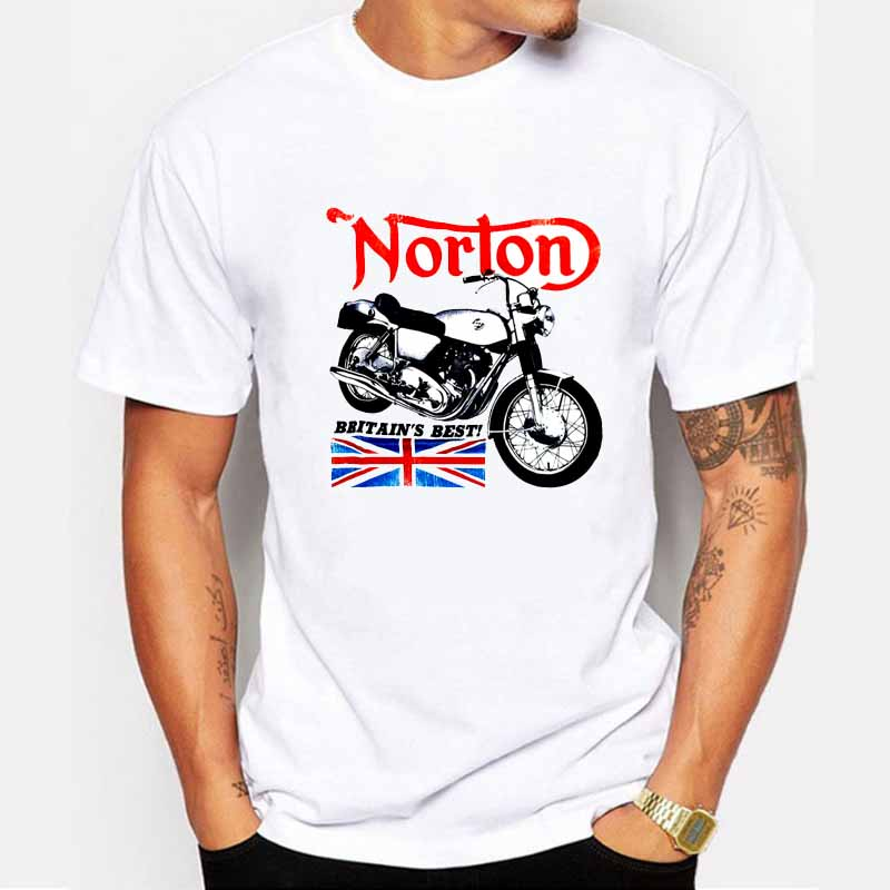 Newest 2017 men's fashion norton motorcycle British flag short sleeve printed t-shirt funny tee shirts Cool Tops