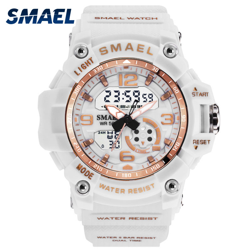 Women Watches In Sport SMAEL Fashion Ladies Watch Dual Time Alarm Clock With Waterproof 1808 Rubber Electronic Wristwatches GirlWomen Watches In Sport SMAEL Fashion Ladies Watch Dual Time Alarm Clock With Waterproof 1808 Rubber Electronic Wristwatches Girl