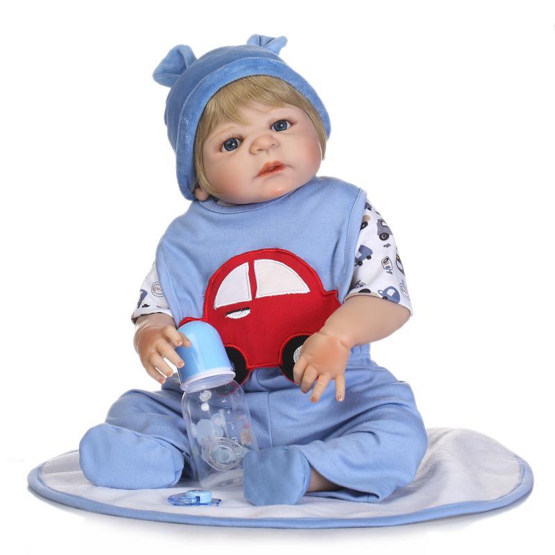 """New 22"""" Reborn Babies Full Silicone Vinyl Body Boy Girl Realistic Doll Reborn Can Enter Water Kids Bath Toy Dolls Bonecas"""