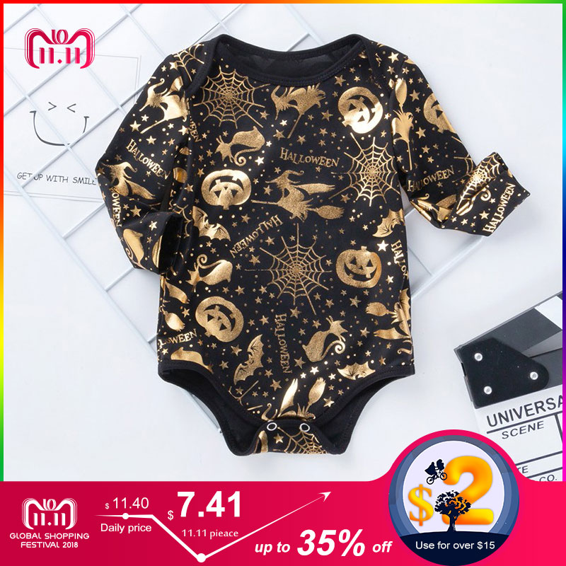 baby bodysuit bronzing halloween baby boy bodysuit long sleeve kid clothes cotton warm baby body clothes infant girls jumpsuit цена 2017