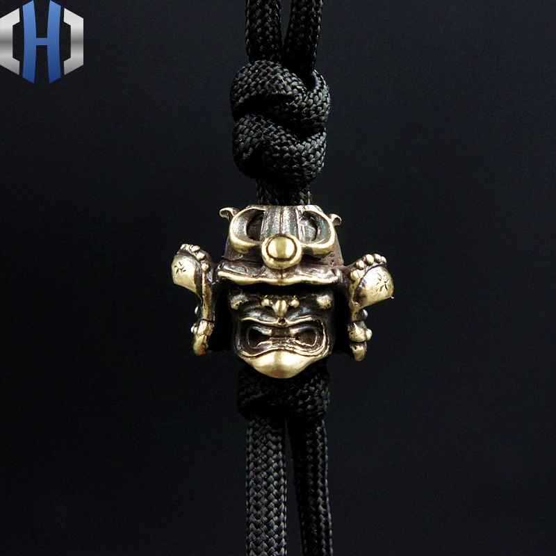 Original Japanese Samurai Helmet EDC Umbrella Rope Knife Flashlight Pendant Handmade DIY Pendant With Ornaments Beads broad paracord