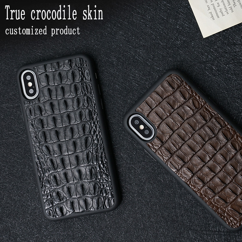 LANGSIDI 100 natural Crocodile skin phone case for iphone X XS XSMax XR 6 7 8 8plus All inclusive soft shell protective case in Phone Bumpers from Cellphones Telecommunications