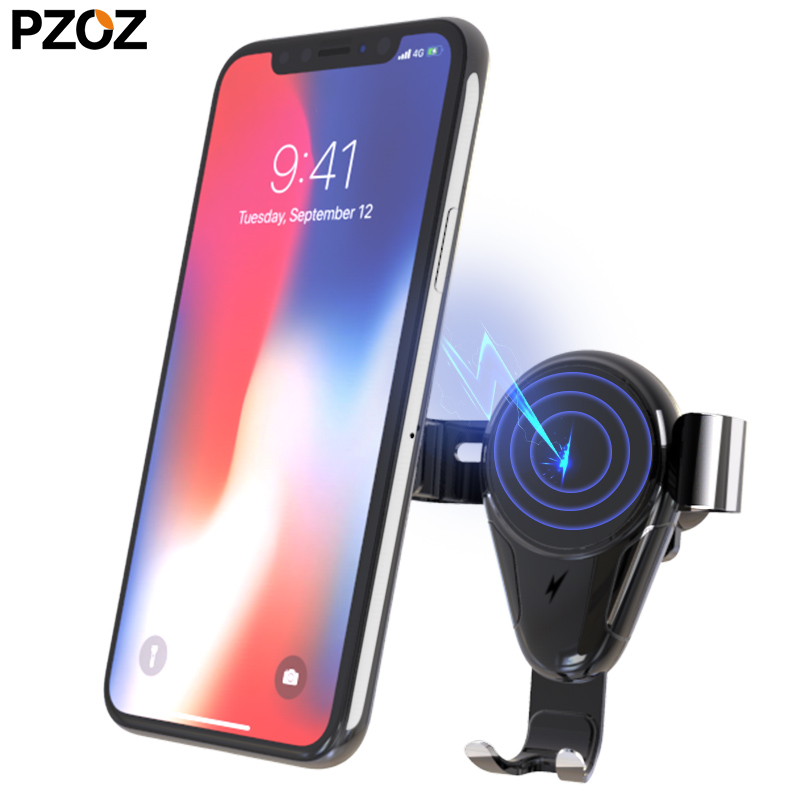 pzoz qi wireless car charger mount Supports for iphone x 8 samsung s9 s8 fast charging gravity car phone holder Stand mobile