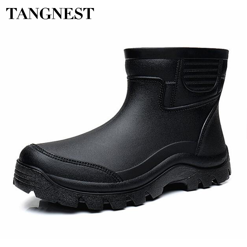 Tangnest Autumn NEW Men Work Boots Solid Black Rubber Rain Boots For Male Outside Waterproof Platform Shoes Size 39~44