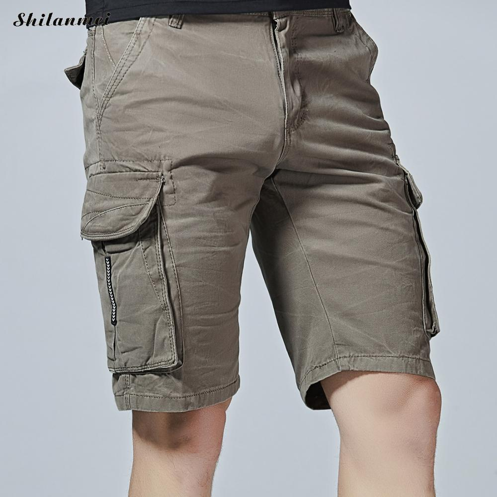 Casual Mens Shorts Summer Loose Middle Waist Capri Cargo Shorts Men Army Green Short Masculino Comfortable Men Clothes 2018