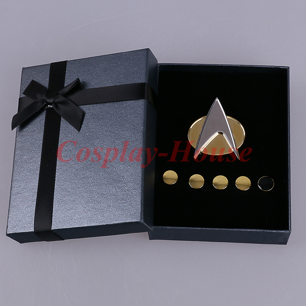 Cos Star Trek Voyager Communicator Metal Badges Pin&Rank Pip/Pips 6pcs Set Cosplay Prop Halloween Party