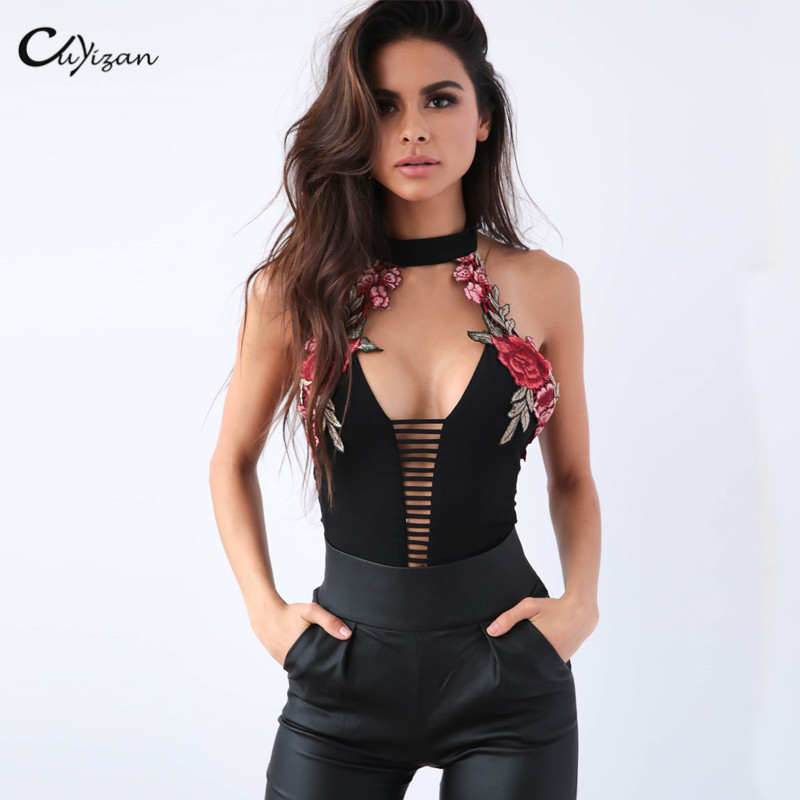 Cuyizan Lace Up Women Bodysuit Tops Fashion Sleeveless Jumpsuit Women Rompers Sexy Backless Floral Prints Sweet Bodice Overalls