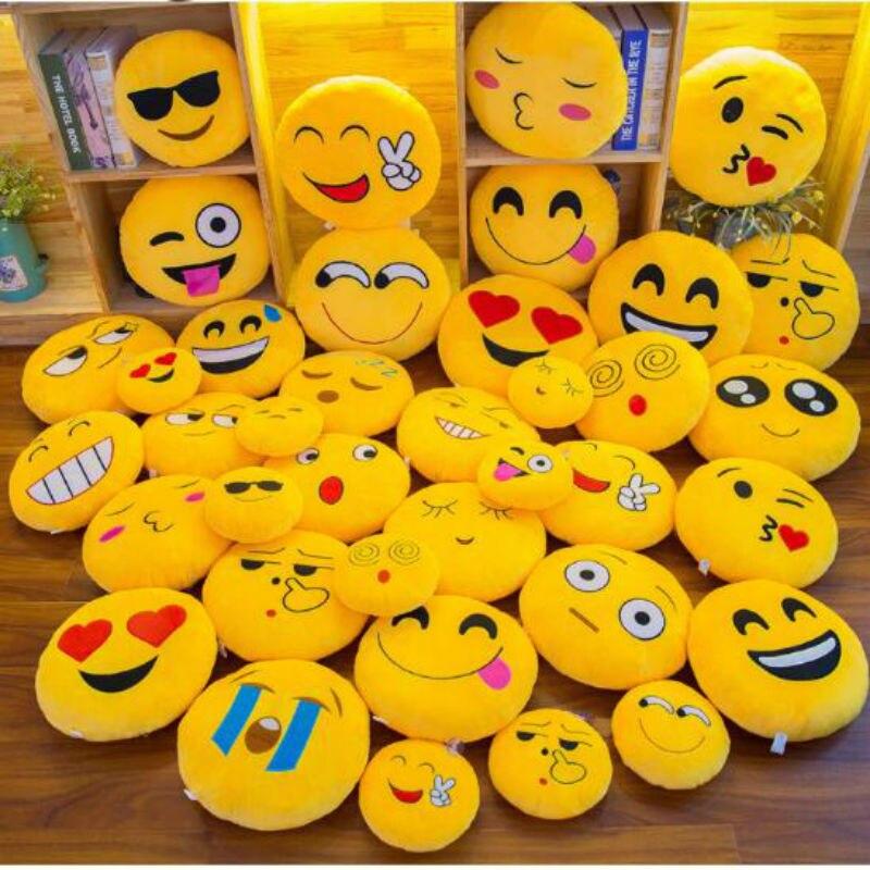 New Smiley Face QQ Emoji Pillows Soft Plush Emoticon Round Cushion Home Decor Cute Cartoon Toy Doll Decorative Throw Pillows 50