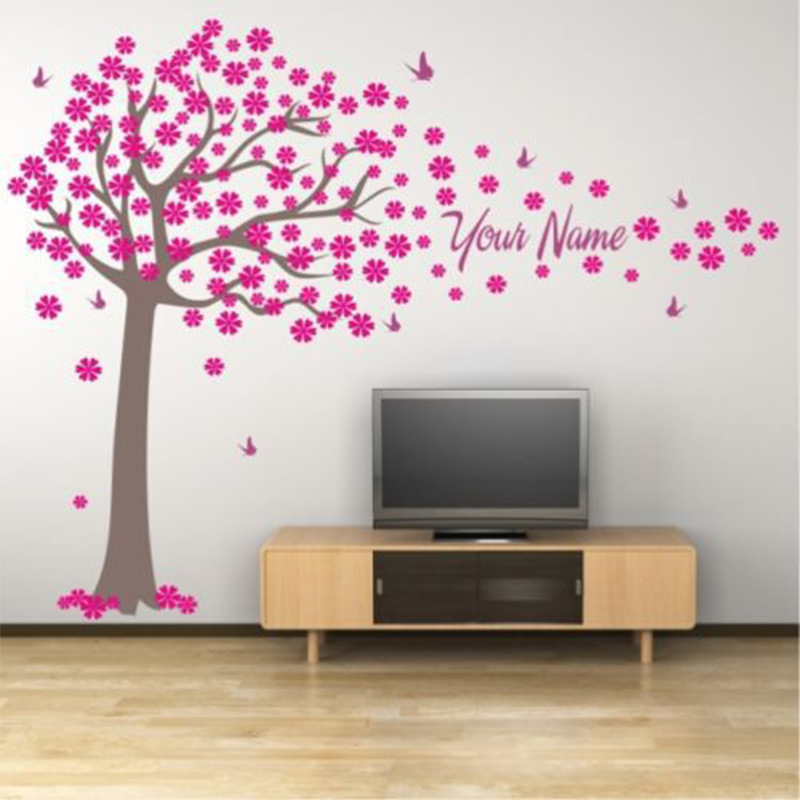 Tree and Butterflies Decals Custome Girl Or Boy Name Wall Stickers - Home Decor