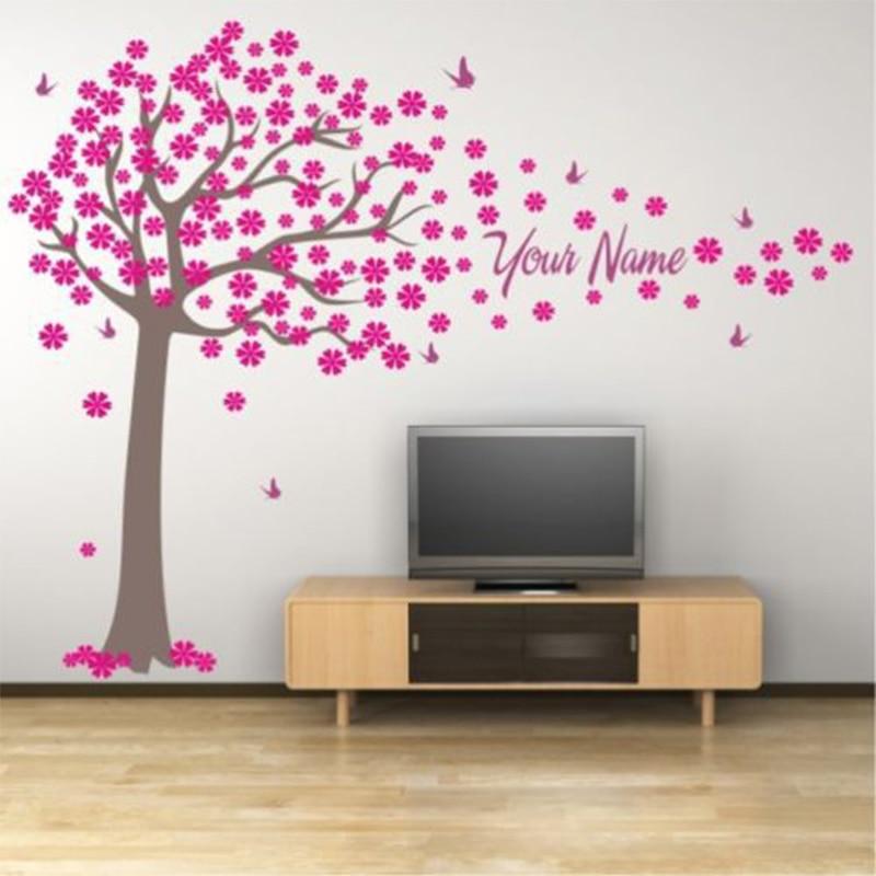 Träd- och fjärilsdekaler Väggdekor Tjej eller pojke Namn - Heminredning