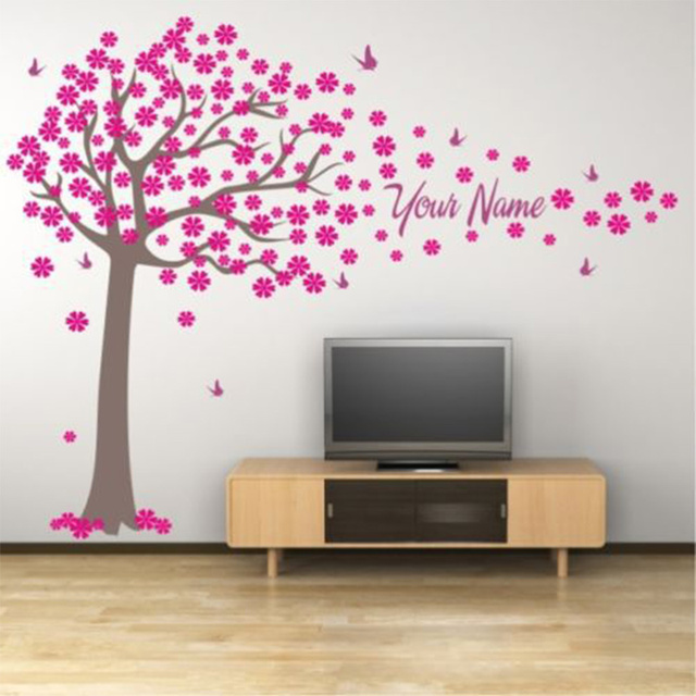 Buy Tree And Butterflies Decals Custome Girl Or Boy Name Wall Stickers Home
