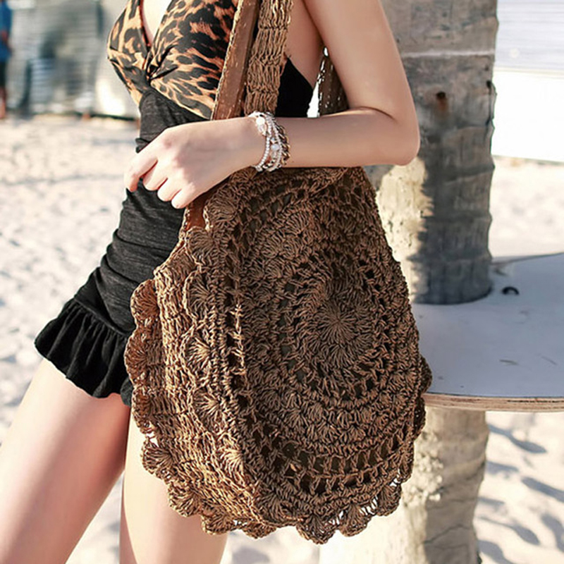 Sun Flower Beach Tote Bag Soft Paper Rope Crochet Round Straw Bag Boho Retro Foldable Shoulder Bag Travel Rattan Bag For Women stylish gauze flower decorated solid color beach straw hat for women