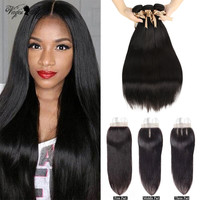 Queen Virgin Remy Hair Brazilian Straight Hair 3 4 Bundles With Closure Cheap Human Hair Weave 28 30 Inch Bundles With Closure