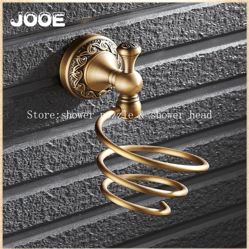 Jooe Brass shelf Hairdryer rack Bathroom Shelves wall mount hair dryer holder bathroom shelf bathroom accessories 2015 high quality black mdf mounted outside black pu leather 3 grid watch display box storage box free shipping ag442