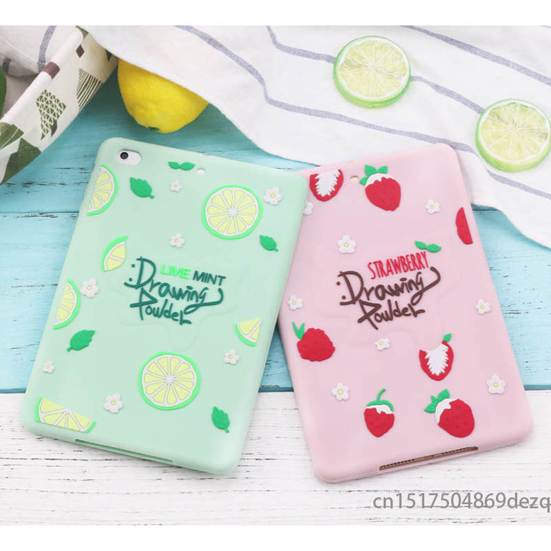 for ipad pro 10.5 Fresh 3D Strawberry Case for ipad mini 1 2 3 mini 4 Cute Cartoon Soft Silicone Case Back Cover cute marshmallow style silicone back case for iphone 5 5s yellow white