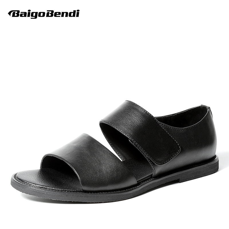 New Arrival Top Quality Ankle Wrap Genuine Leather Mens Gladiator Rome Sandals Trendy Black Hook Loop Summer Shoes