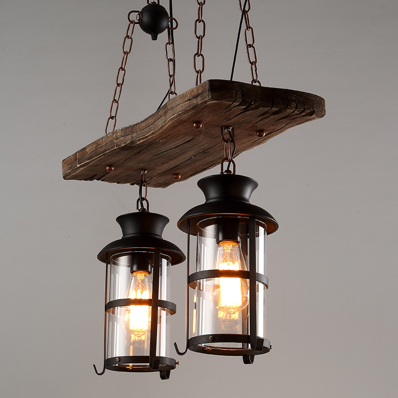 Vintage Retro Loft American Country Style Dual Heads Metal Droplight with Wood Panel Chain Pendant Light for Bar Cafe Inn - 3