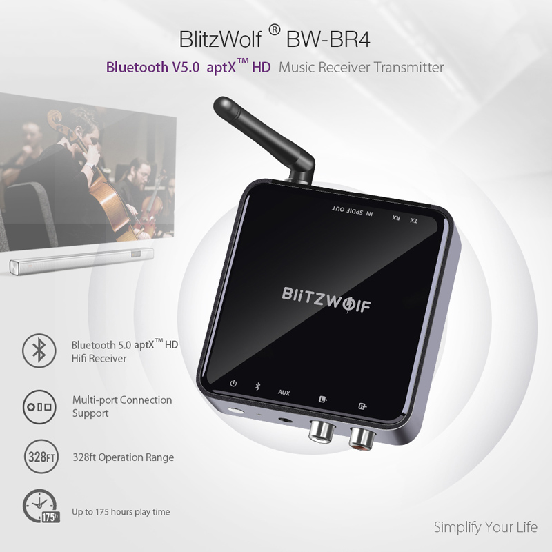 BlitzWolf bluetooth V5.0 3.5mm Aux Wireless Receiver Transmitter Adapter Music Audio for TV Smartphone PC Computer Speakers Car