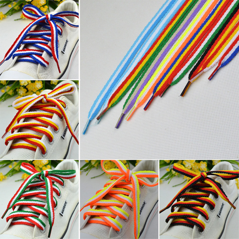 Mix Three Color Shoelaces 1 Cm Width 115 Length Striped Shoelaces Women Men Colorful Leather Sports Casual Shoes Laces