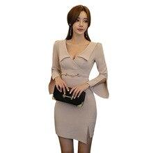 810d440e380c6 Derin V Boyun Kılıf Tunik Paket Kalça Mini Elbise Kadınlar Zarif Kore Seksi  Ofis Parti Moda Kalem Elbise Bahar kadın giysisi