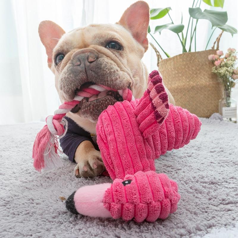Cute Plush Flamingo Pet Dogs Bite Chew Toys Chihuahua/Yorkshire/Bulldog/Pug/Corgi Small Dog Interactive /Squeaky Sound Toy