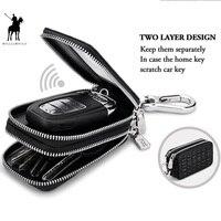 WILLIAMPOLO Vintage Leather Key Wallet Key chain Covers Zipper Key Case Bag Men Key Holder Organizer PL281