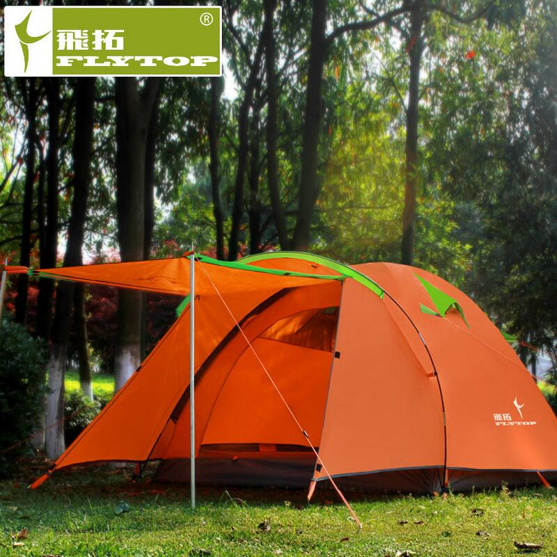 FLYTOP Ultralight Waterproof Tourist Travel Tent 3 - 4 person Outdoor Camping Tent Family Beach Double Layer Fishing Tents China brand 1 2 person outdoor camping tent ultralight hiking fishing travel double layer couples tent aluminum rod lovers tent