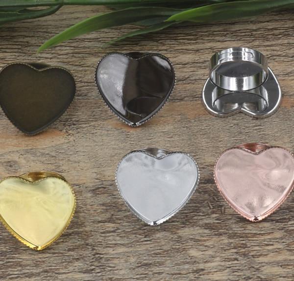 100pcs Cabochon 25mm Heart Pad ring blank Cameo Tray Bronze Gold Silver Ring setting Handmade DIY