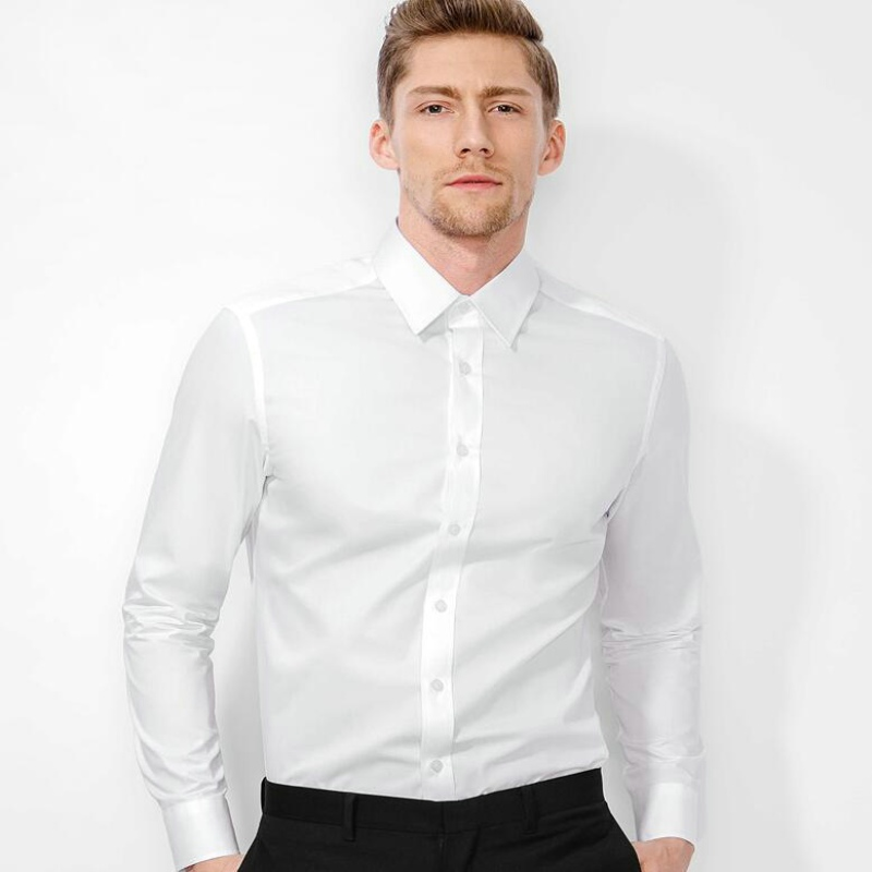 Freies Verschiffen Hohe Qualität männer Dünnes Hemd 100% Baumwollhemd männer Business Casual Reine Shirt 4 Farben Freies Verschiffen Größe-S-XX