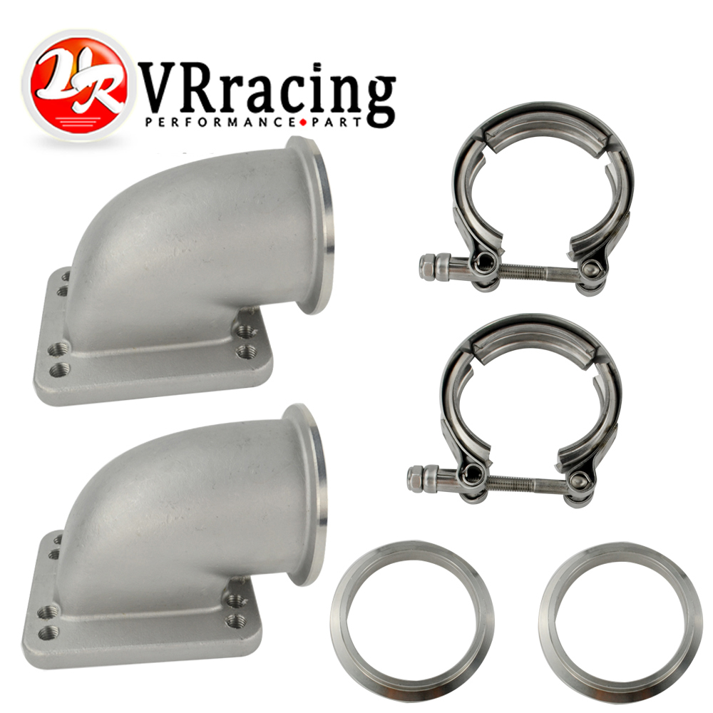 1 Pair 2.5 Vband 90 Degree Cast Turbo Elbow Adapter Flange 304 Stainless Steel + Clamp and Flange For T3 T4 Turbocharger