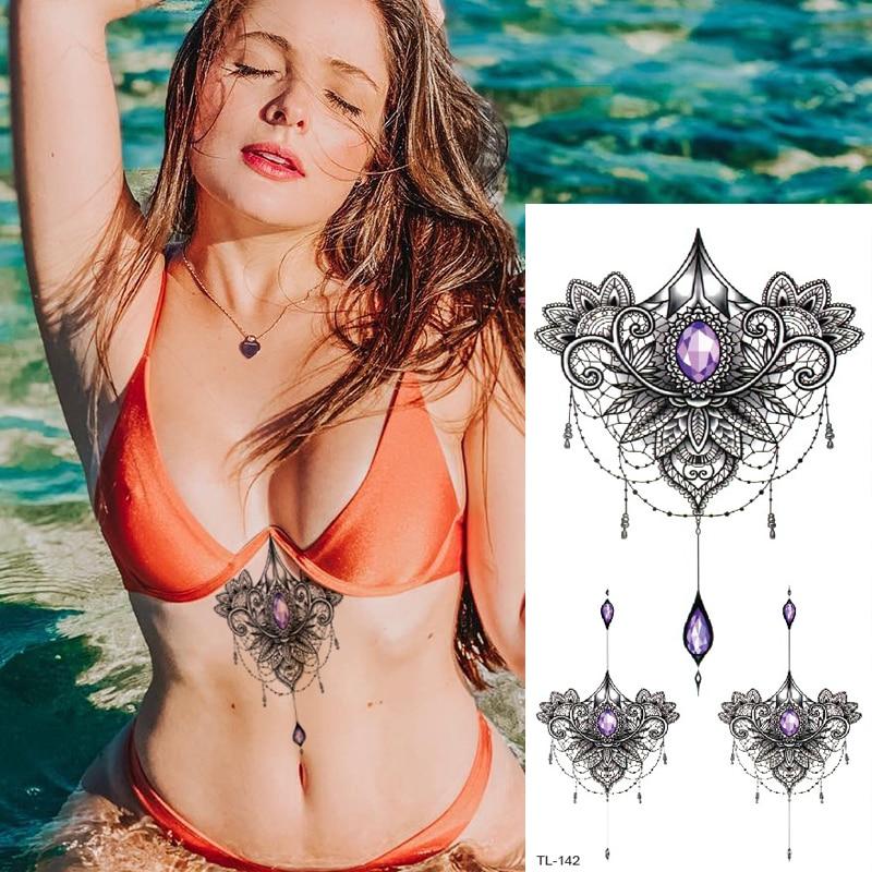 Sternum Temporary Tattoo Sticker Under Breast Tattoo Women Sexy Tatoo Mehndi Stickers Bikini Girls Tattoo Mandala Lace Necklace