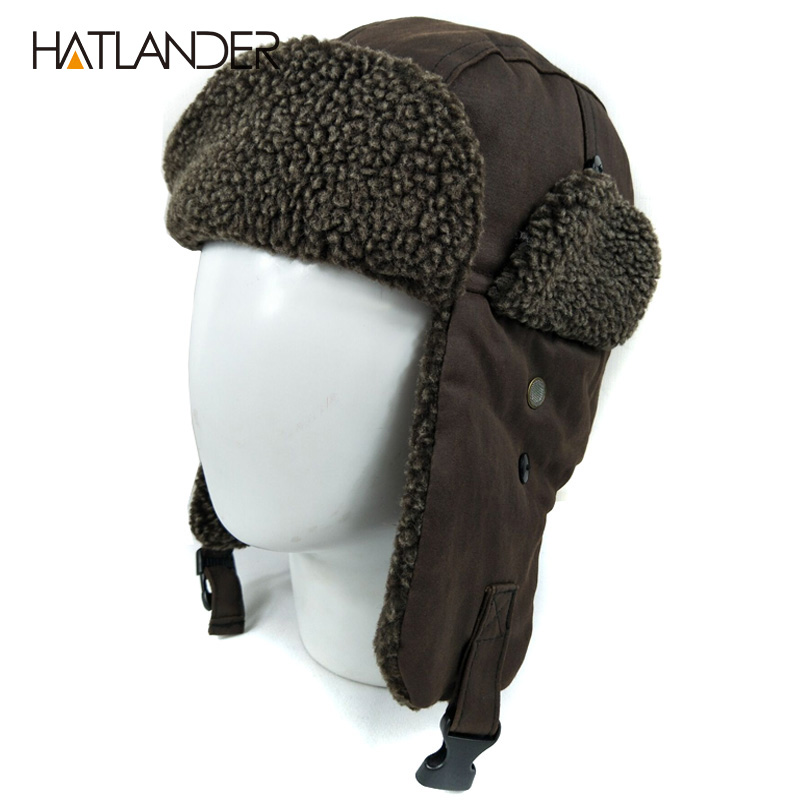 [HATLANDER]Outdoor Warm Earflap Bomber Hats For Men Women Thicken Russian Skull Trapper Aviator Trooper Snow Ski Winter Hat Cap