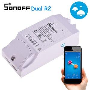 Image 1 - Sonoff כפולה R2 2CH Wifi חכם מתג בית שלט רחוק אלחוטי מתג אוניברסלי מודול טיימר מתג בית חכם בקר